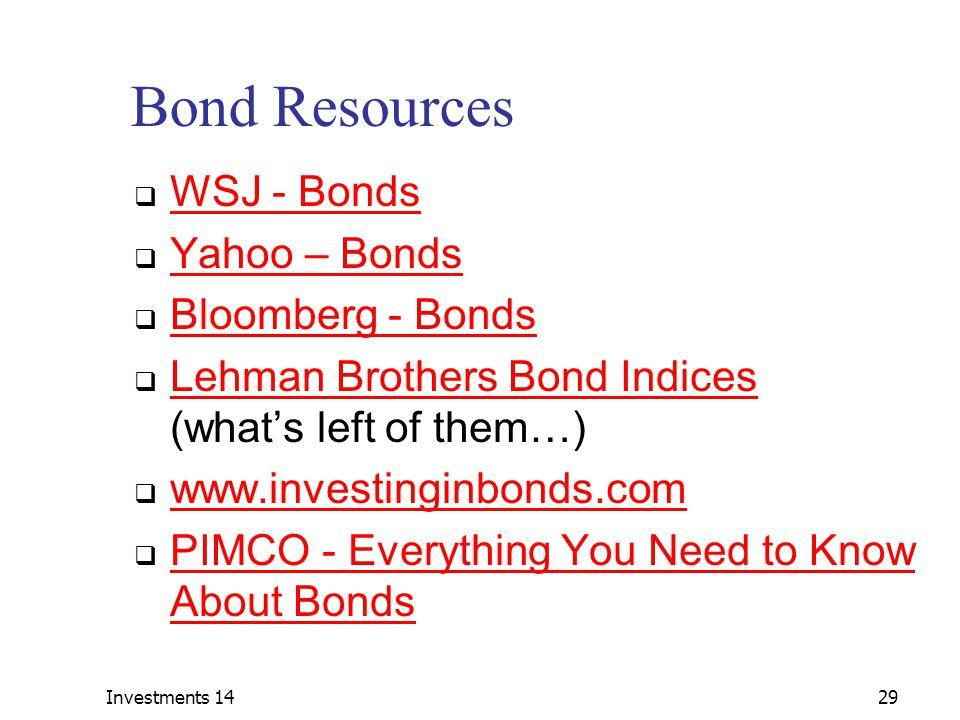 Bond Resources WSJ - Bonds Yahoo – Bonds Bloomberg - Bonds