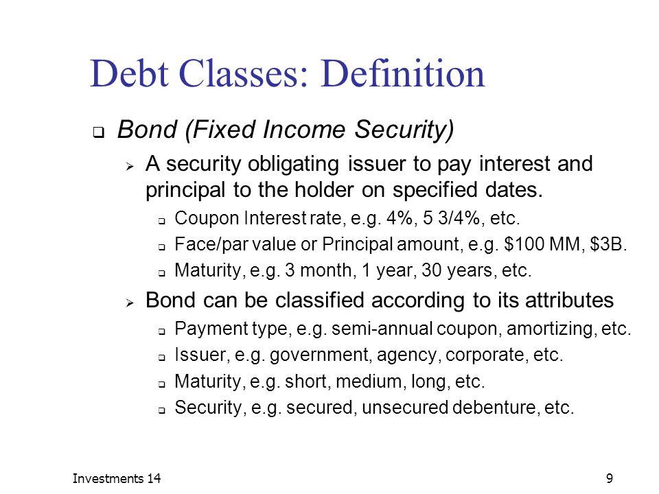 Debt Classes: Definition