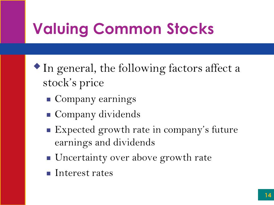 Valuing Common Stocks In general, the following factors affect a stock's price. Company earnings. Company dividends.