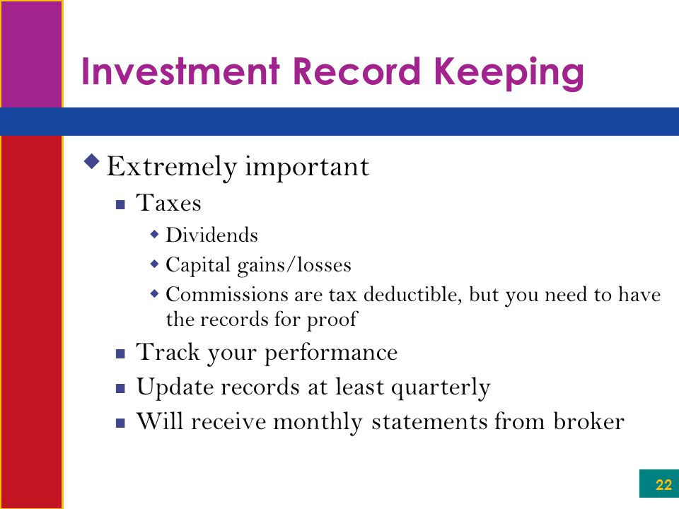 Investment Record Keeping