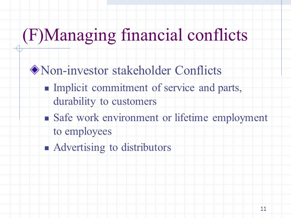 (F)Managing financial conflicts