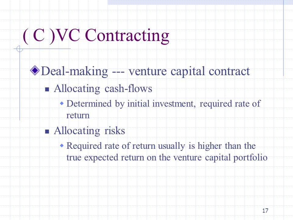 ( C )VC Contracting Deal-making --- venture capital contract