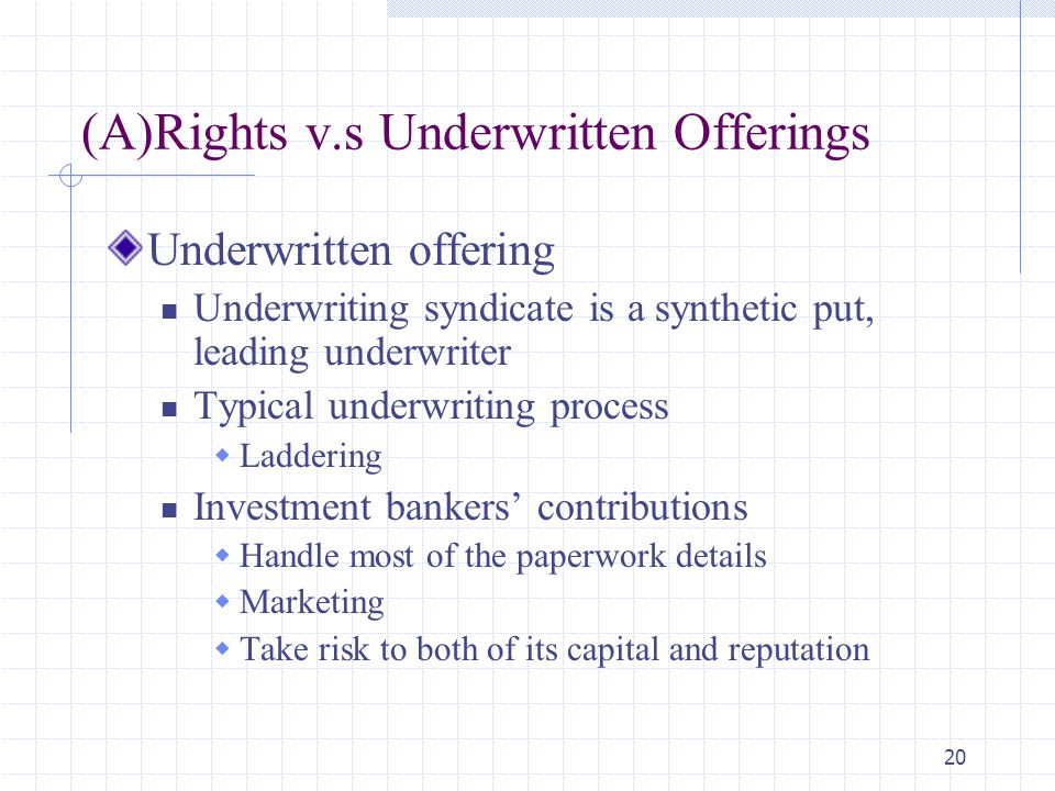 (A)Rights v.s Underwritten Offerings