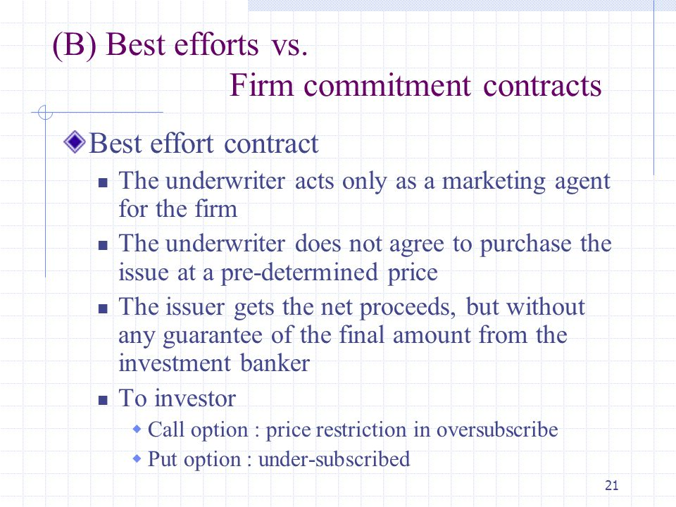 (B) Best efforts vs. Firm commitment contracts