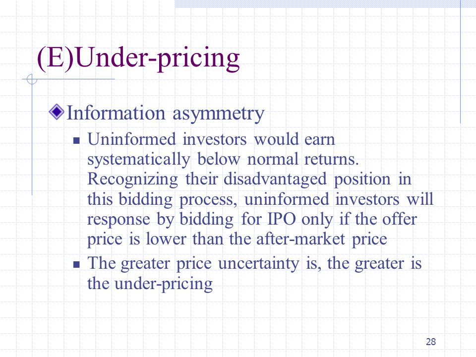 (E)Under-pricing Information asymmetry