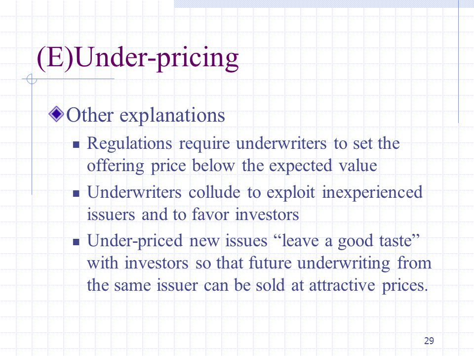 (E)Under-pricing Other explanations