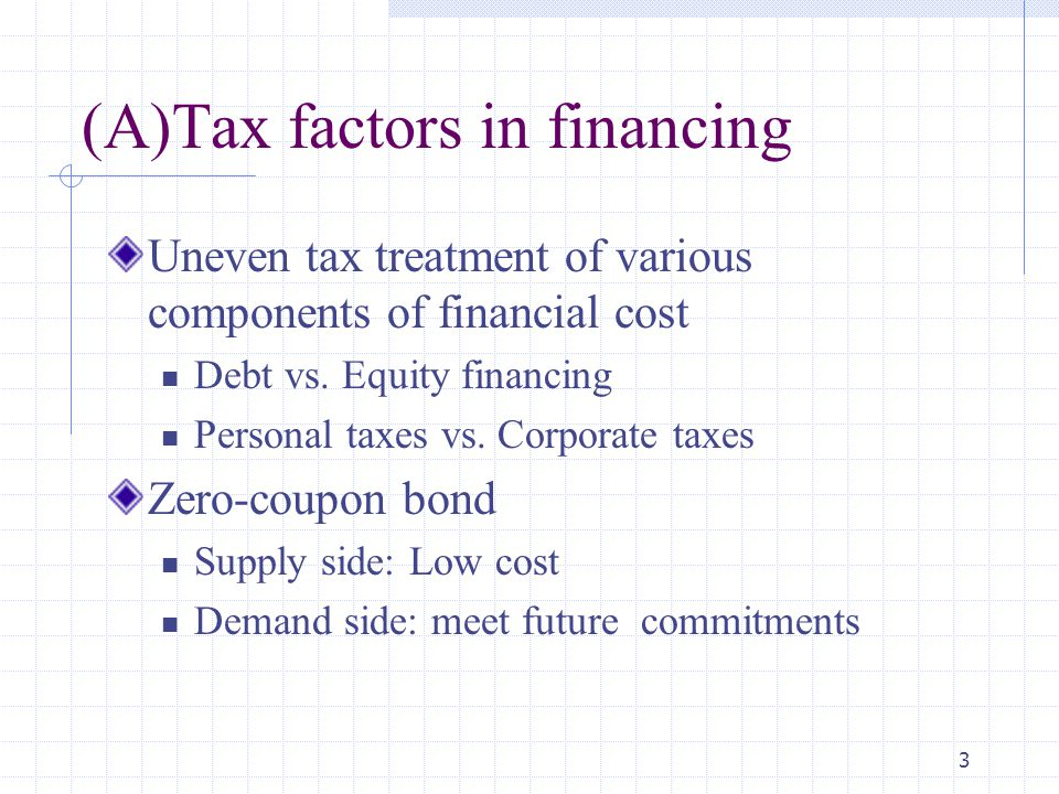 (A)Tax factors in financing