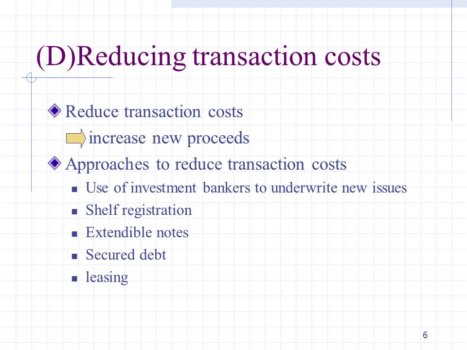 (D)Reducing transaction costs