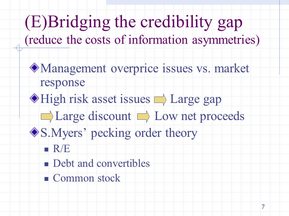 (E)Bridging the credibility gap (reduce the costs of information asymmetries)