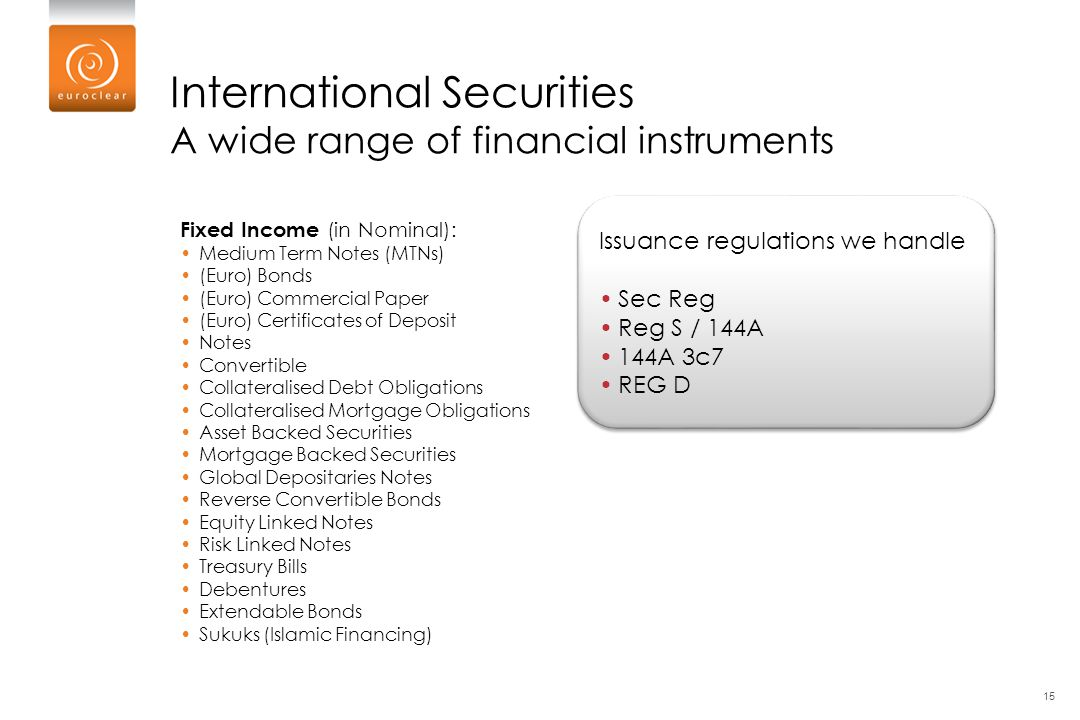 International Securities A wide range of financial instruments