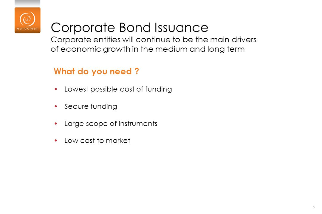 Corporate Bond Issuance Corporate entities will continue to be the main drivers of economic growth in the medium and long term