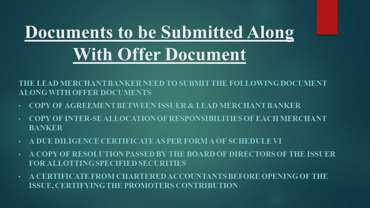 Documents to be Submitted Along With Offer Document
