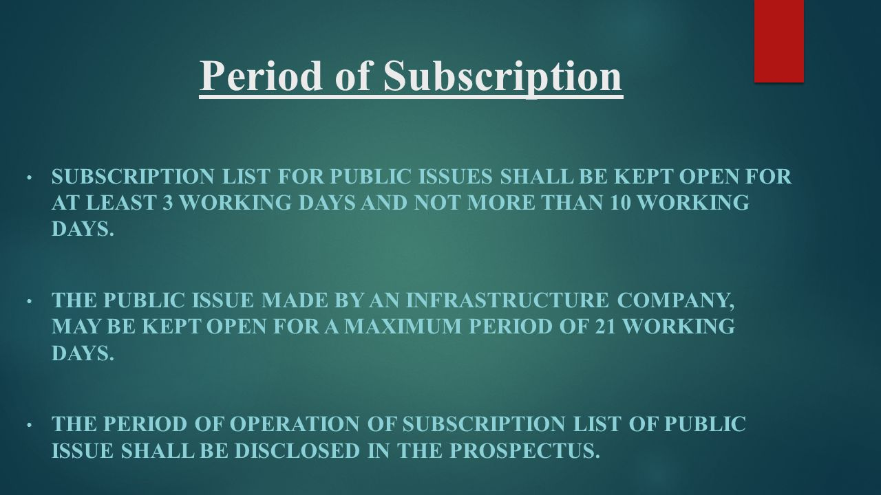 Period of Subscription