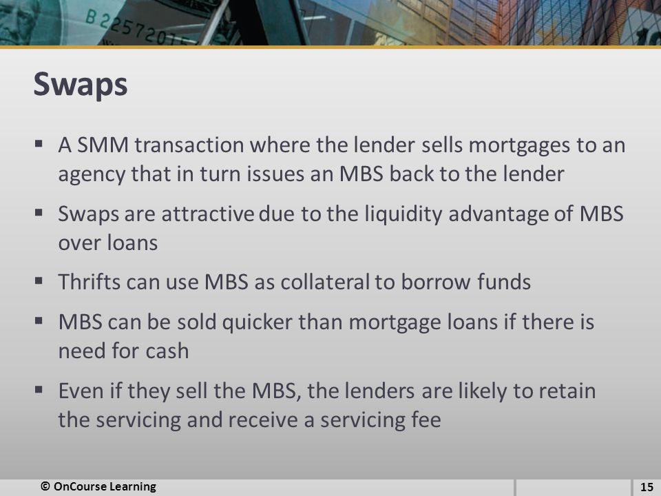 Swaps A SMM transaction where the lender sells mortgages to an agency that in turn issues an MBS back to the lender.