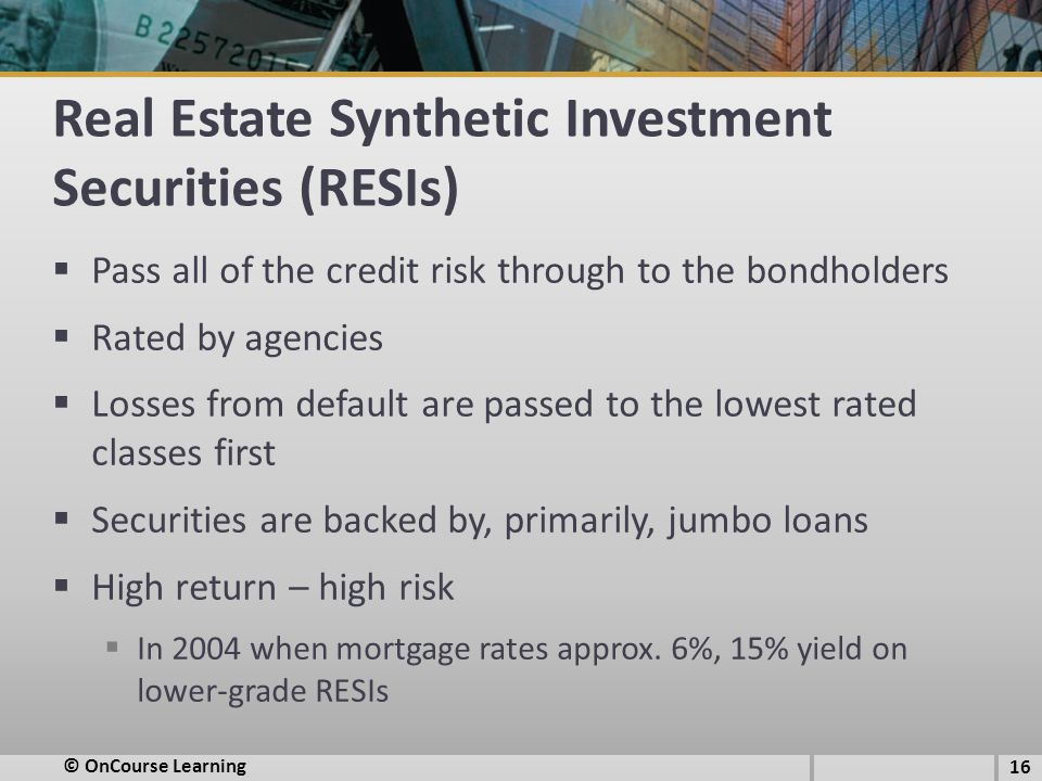 Real Estate Synthetic Investment Securities (RESIs)
