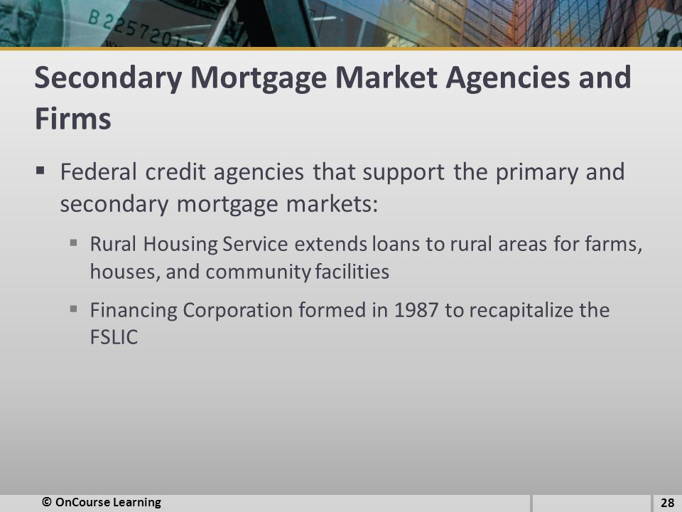 Secondary Mortgage Market Agencies and Firms