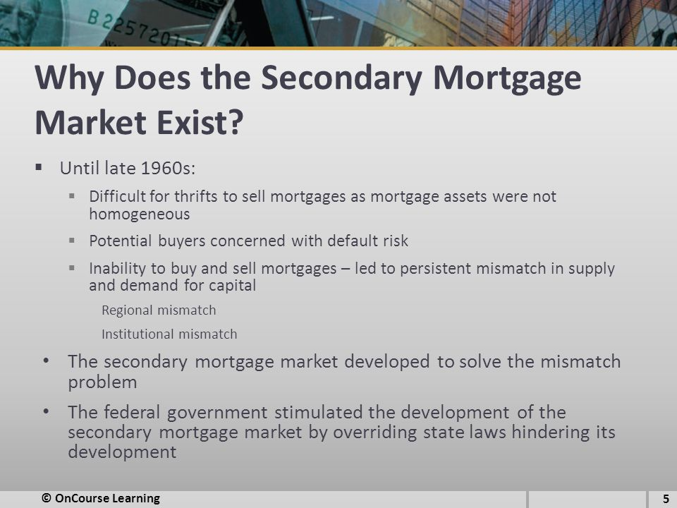Why Does the Secondary Mortgage Market Exist