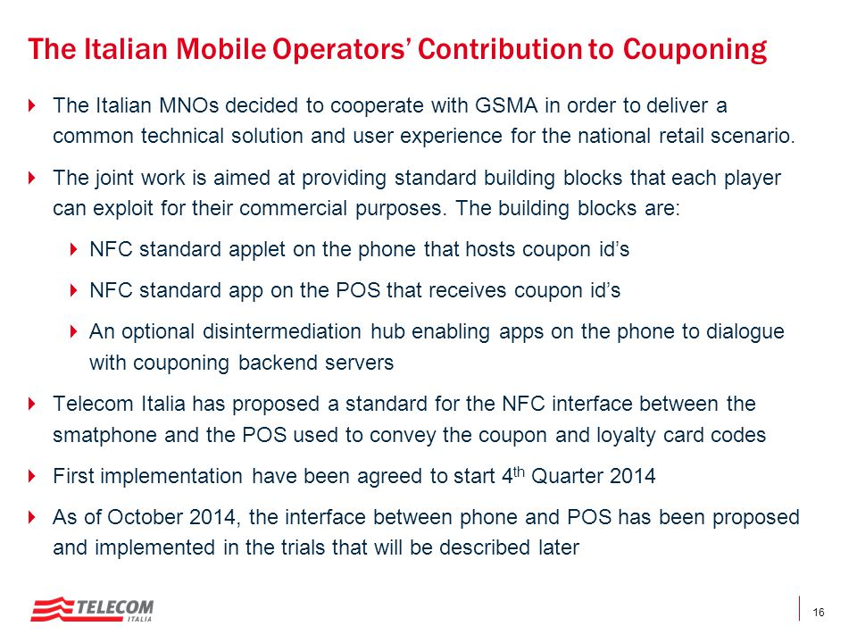 The Italian Mobile Operators' Contribution to Couponing