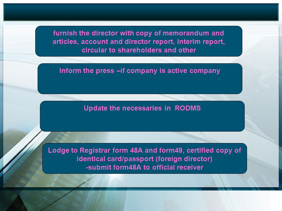 Inform the press –if company is active company