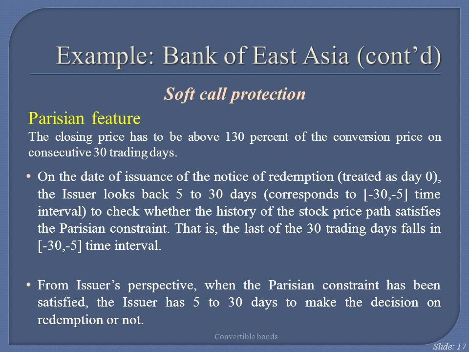 Example: Bank of East Asia (cont'd)