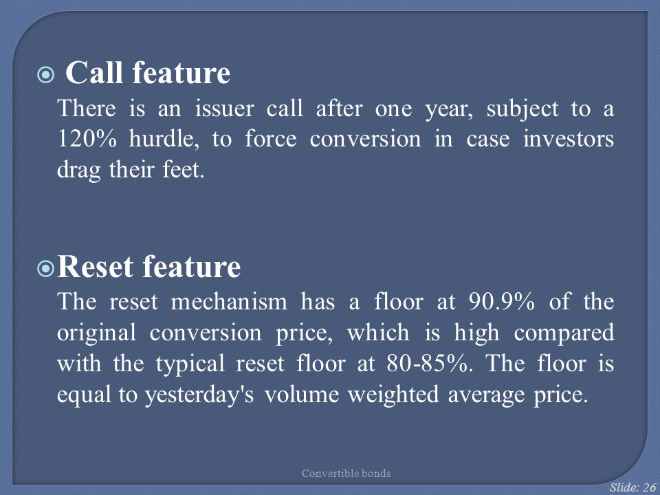 Call feature Reset feature