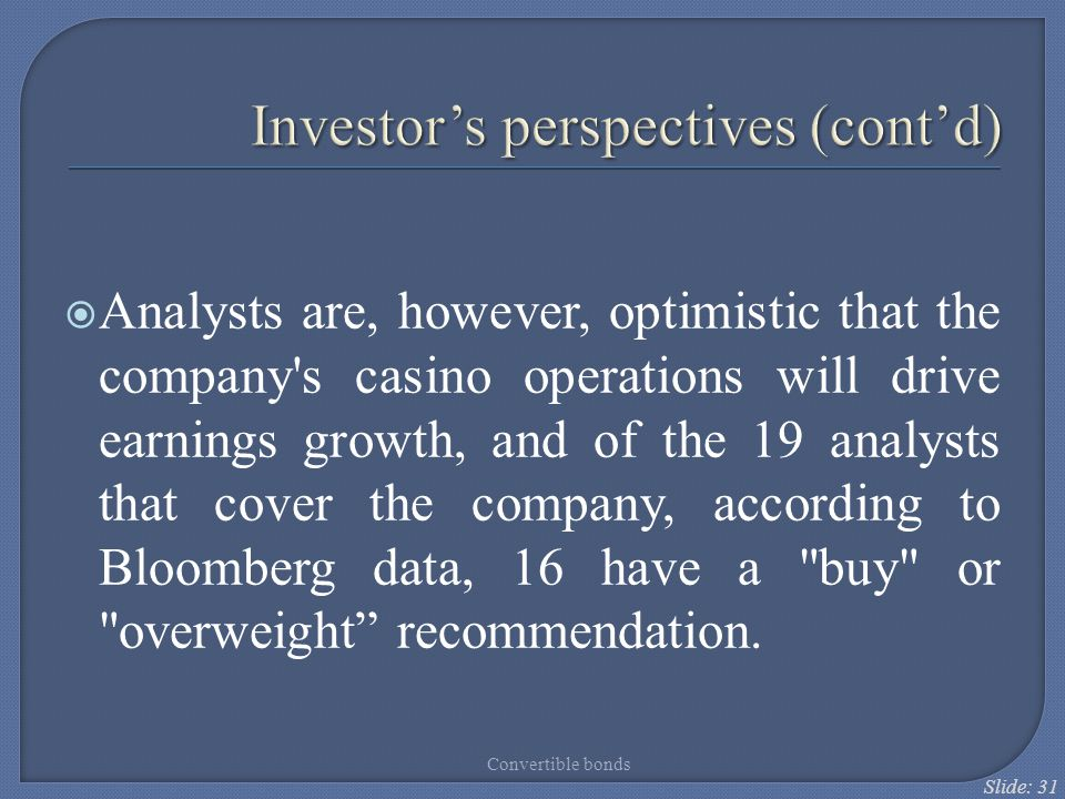 Investor's perspectives (cont'd)