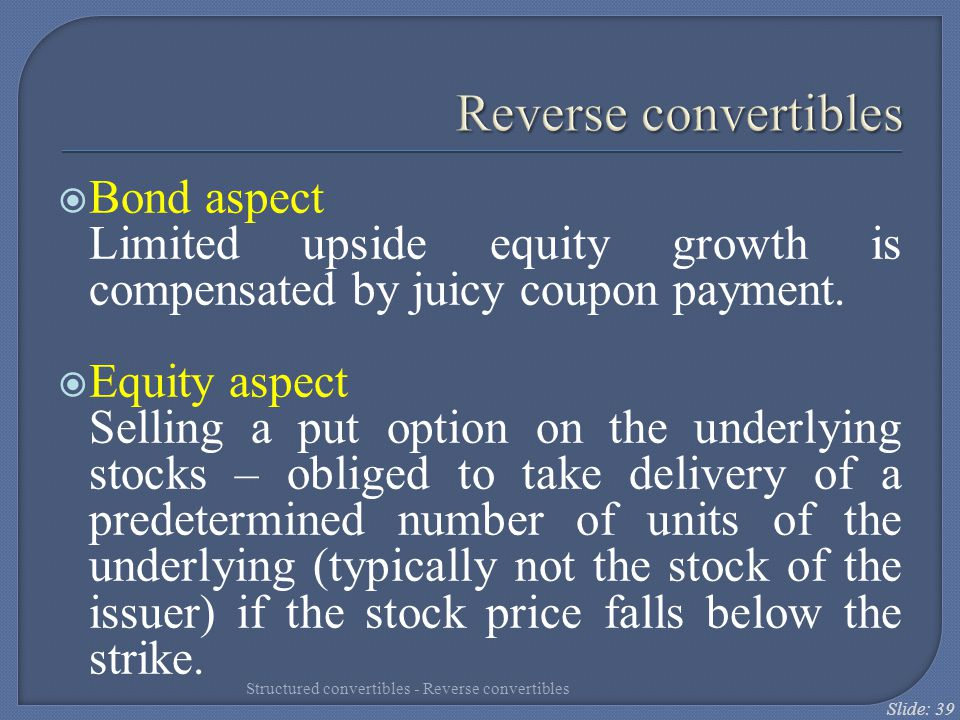 Reverse convertibles Bond aspect