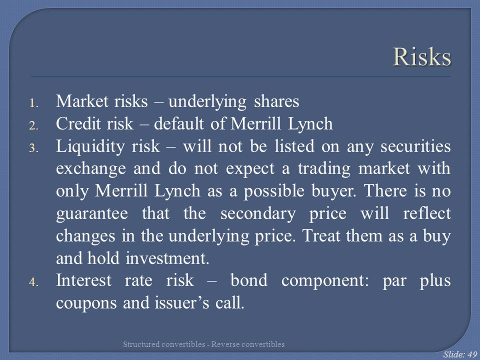 Risks Market risks – underlying shares