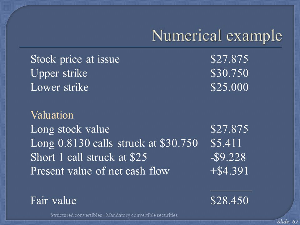 Numerical example Stock price at issue $27.875 Upper strike $30.750
