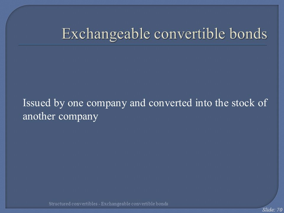 Exchangeable convertible bonds