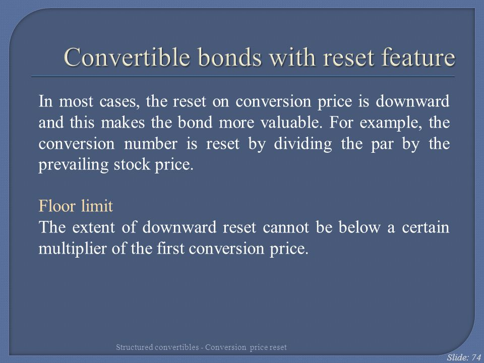 Convertible bonds with reset feature