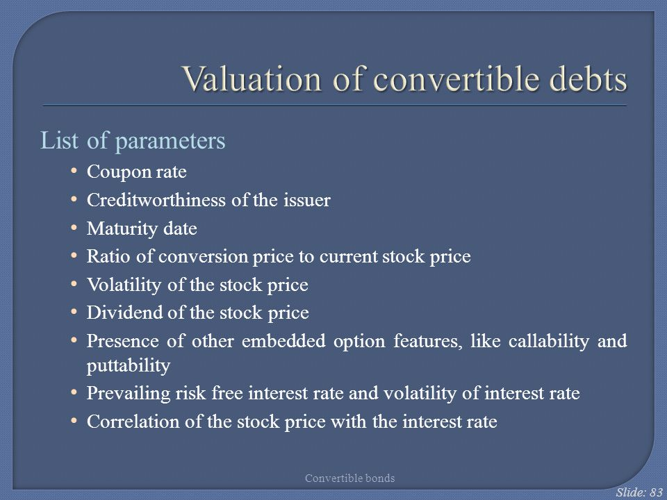 Valuation of convertible debts
