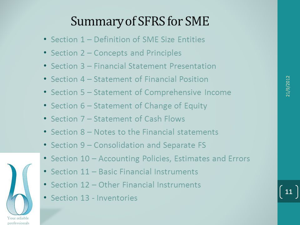 Summary of SFRS for SME Section 1 – Definition of SME Size Entities