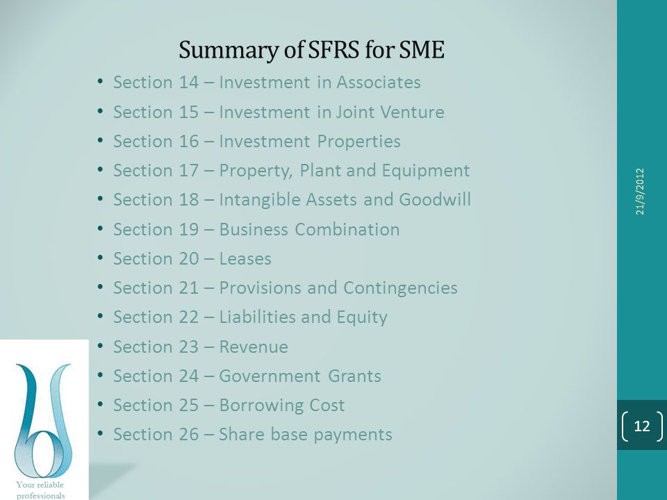 Summary of SFRS for SME Section 14 – Investment in Associates
