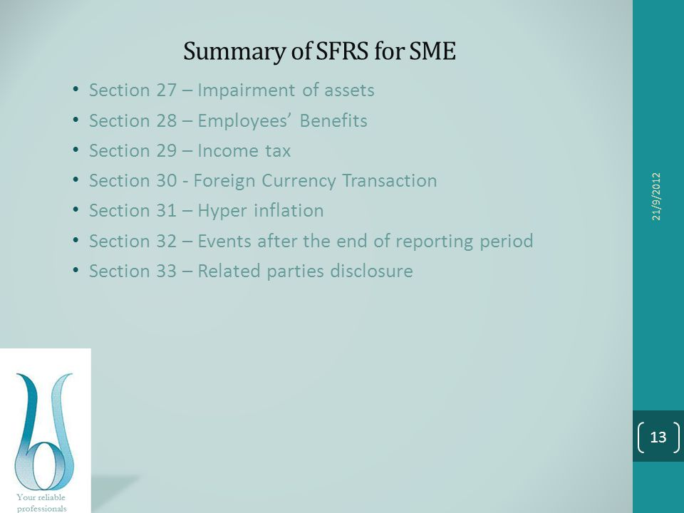 Summary of SFRS for SME Section 27 – Impairment of assets