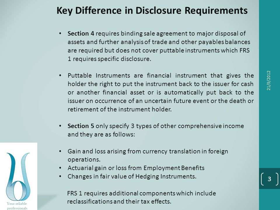 Key Difference in Disclosure Requirements