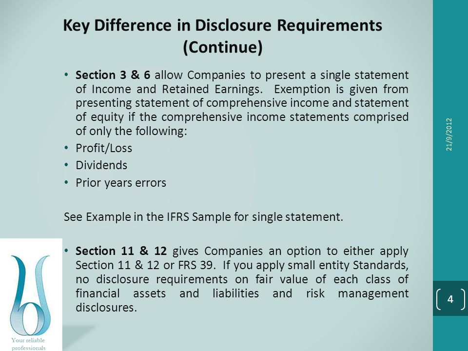 Key Difference in Disclosure Requirements (Continue)
