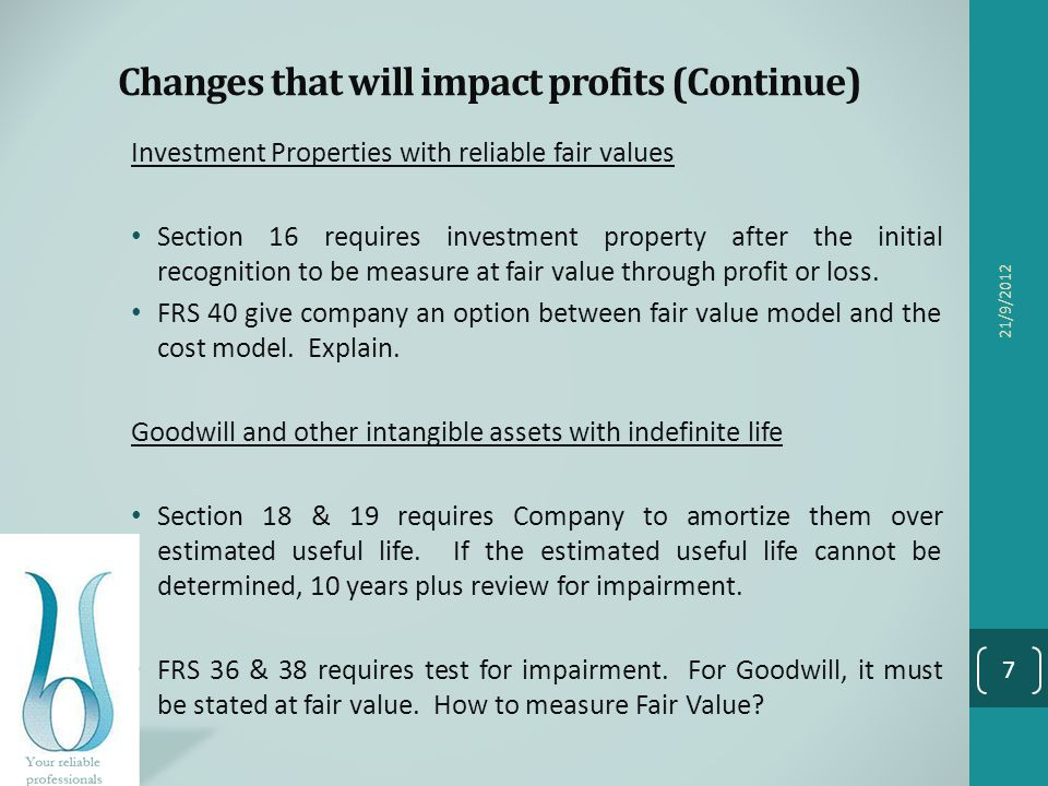 Changes that will impact profits (Continue)