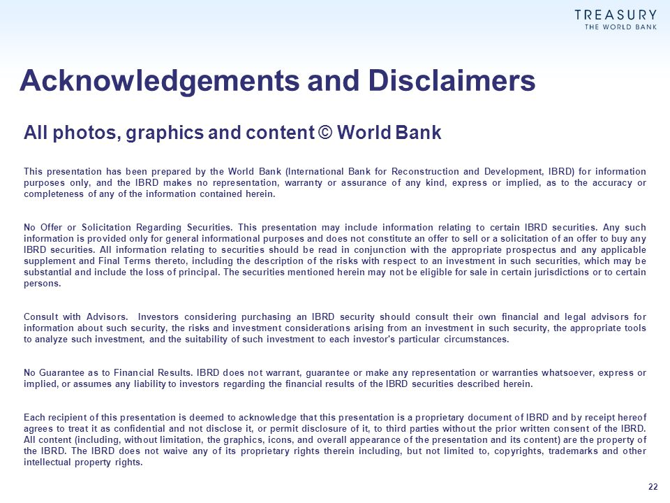Acknowledgements and Disclaimers