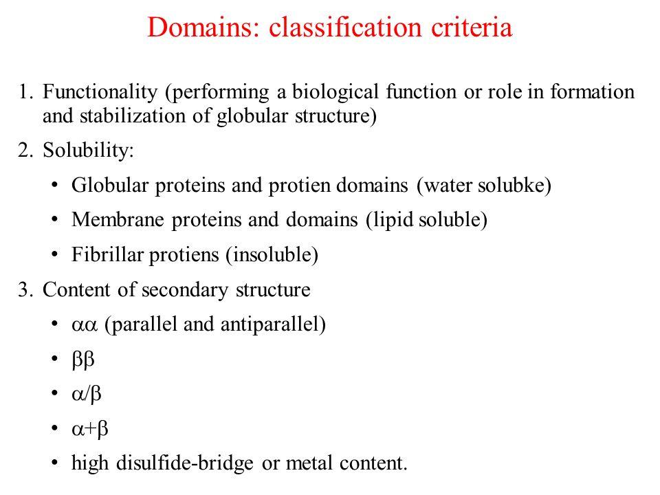 Domains: classification criteria