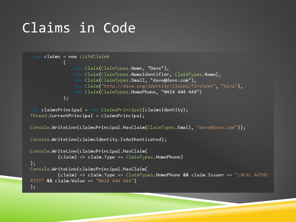 Claims in Code