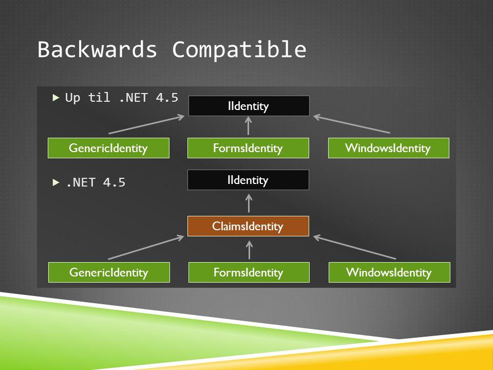 Backwards Compatible Up til .NET 4.5 .NET 4.5 IIdentity