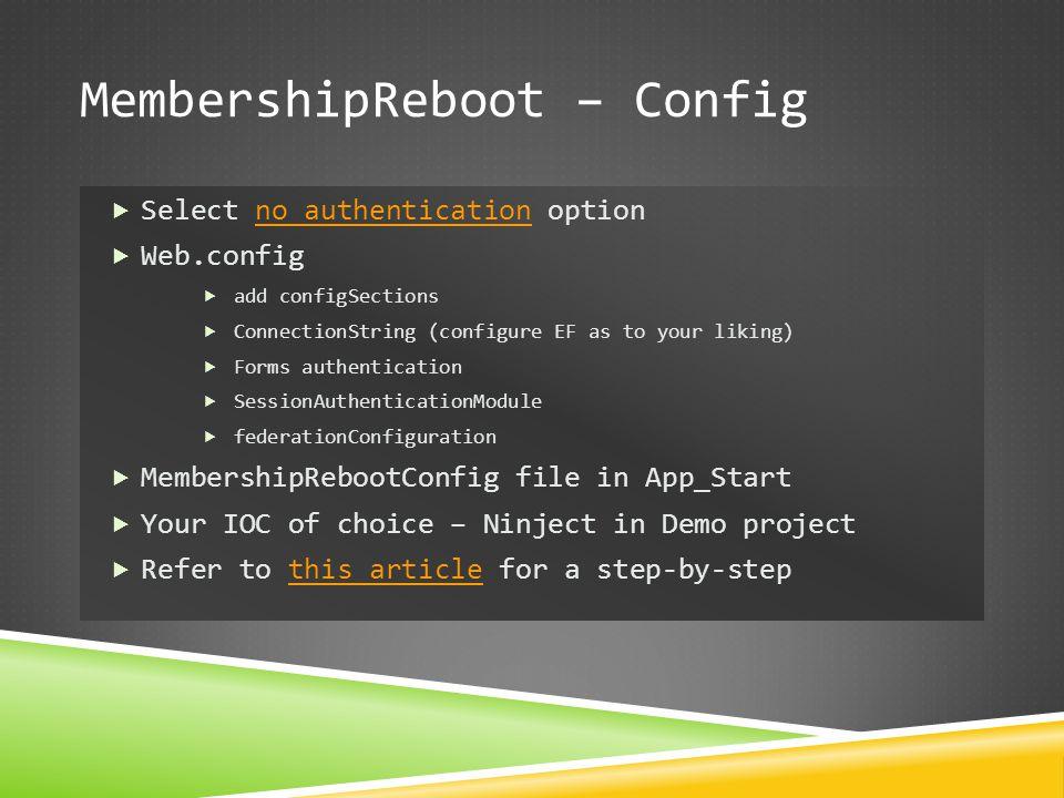 MembershipReboot – Config