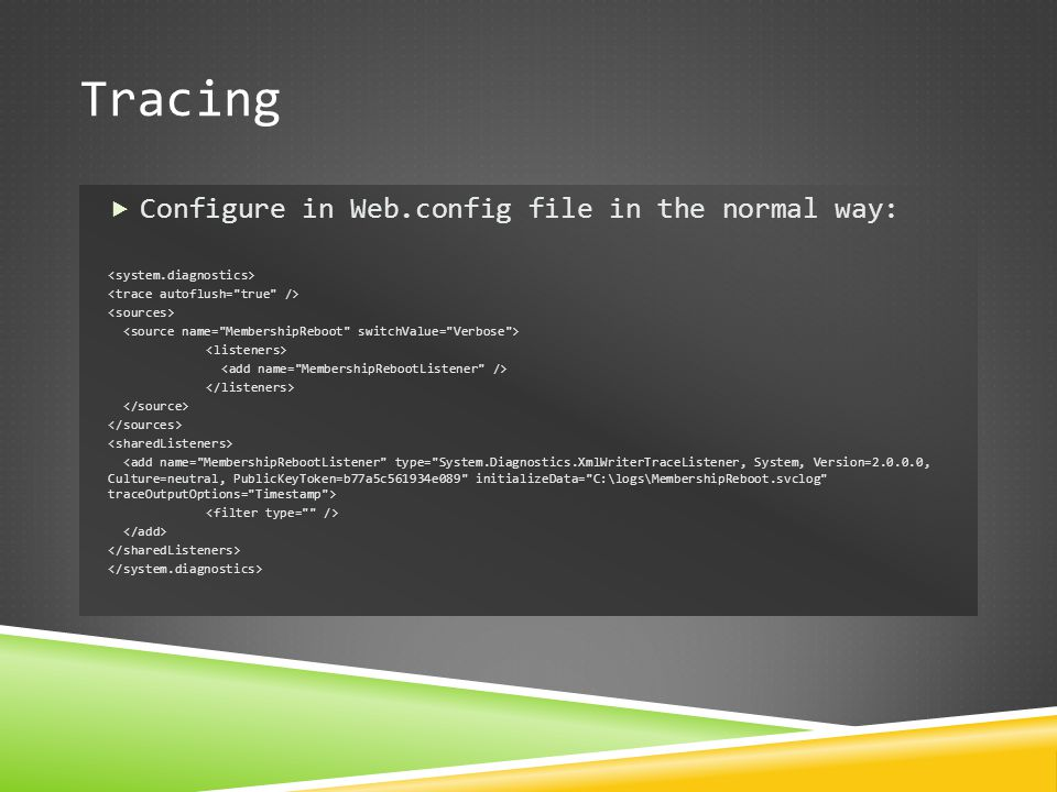 Tracing Configure in Web.config file in the normal way: