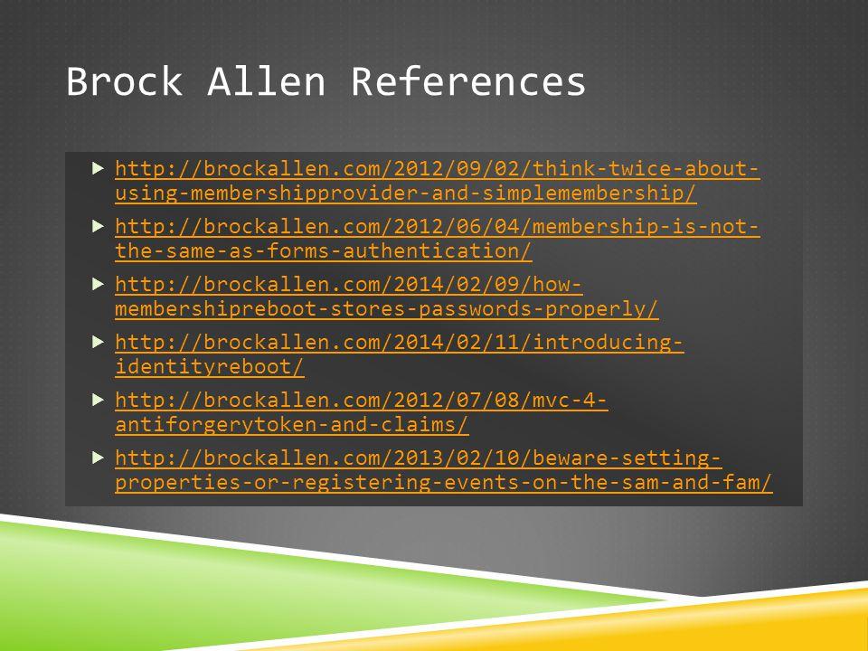 Brock Allen References