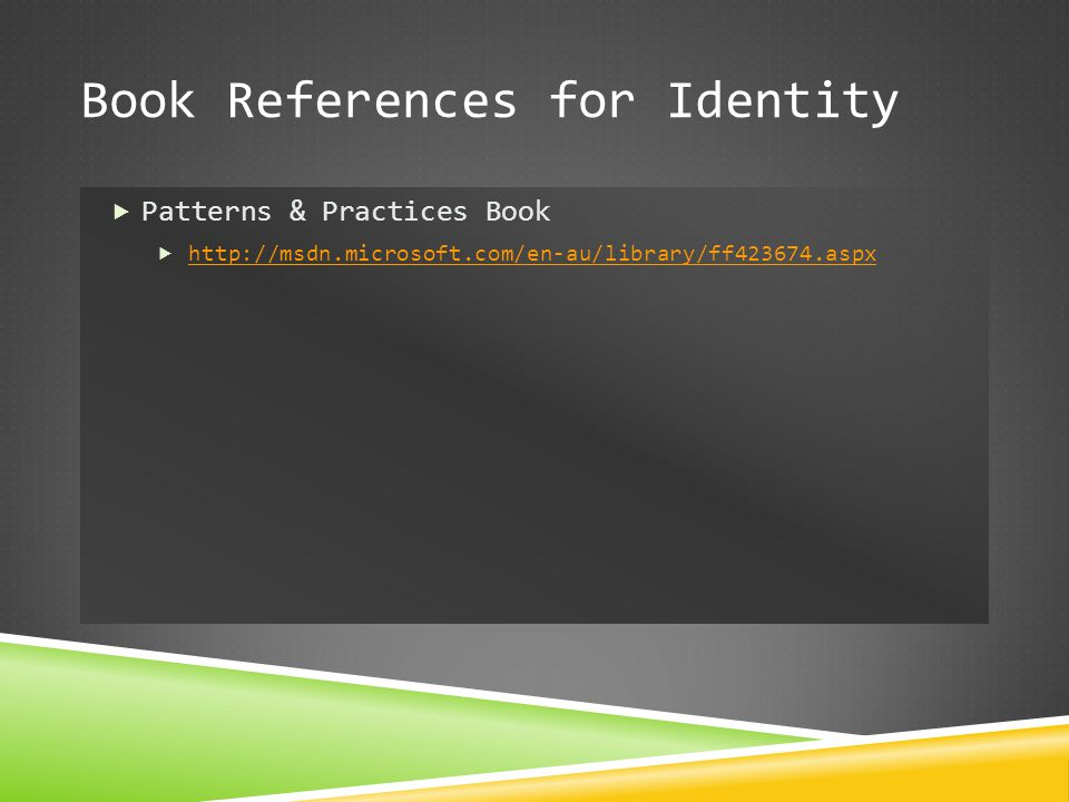 Book References for Identity