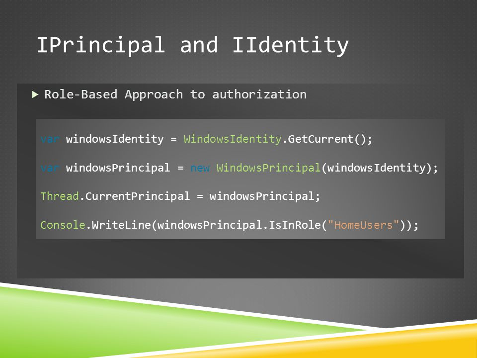 IPrincipal and IIdentity