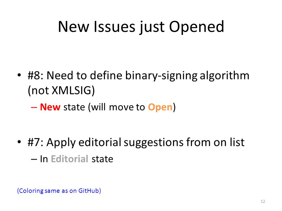New Issues just Opened #8: Need to define binary-signing algorithm (not XMLSIG) New state (will move to Open)