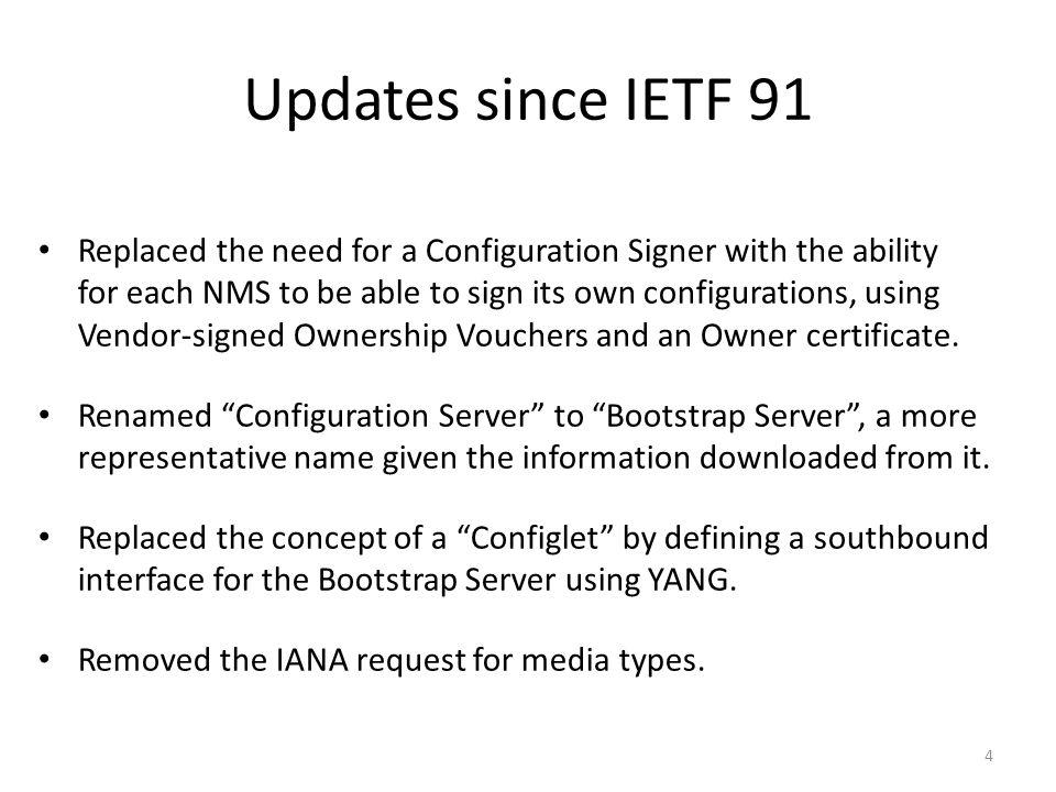 Updates since IETF 91