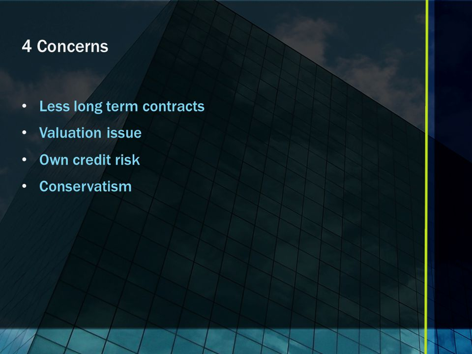 4 Concerns Less long term contracts Valuation issue Own credit risk